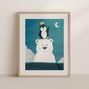 affiche ours et pingouin encadrée