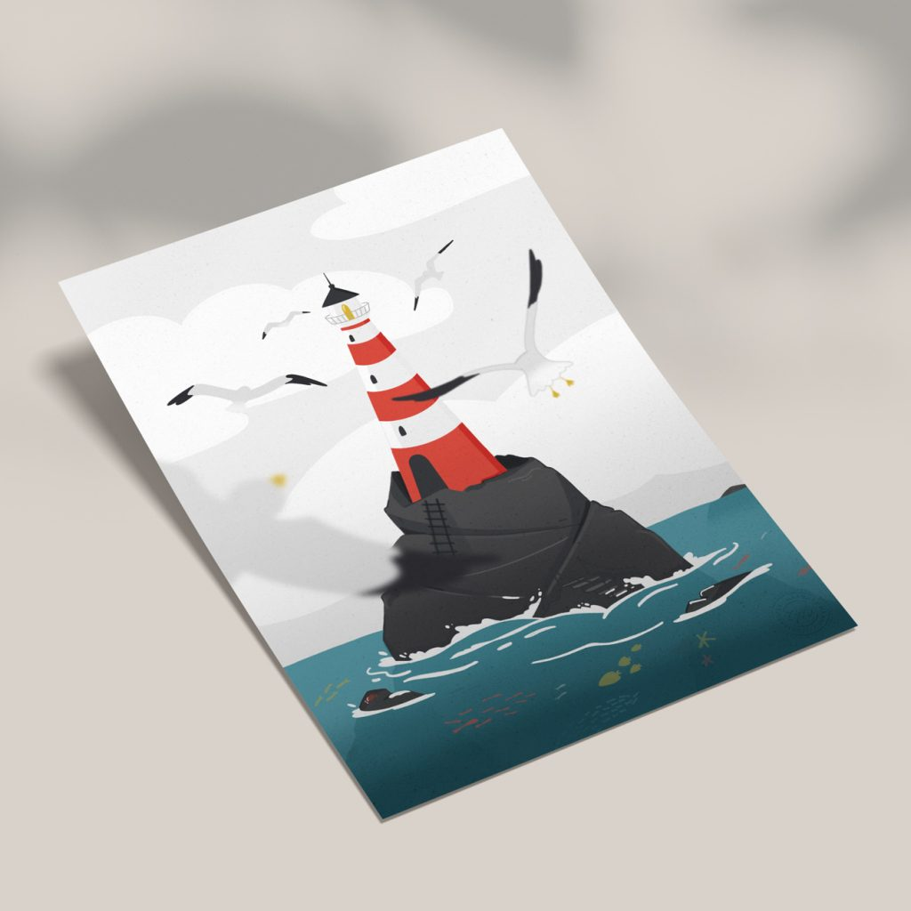 affiche phare mouette