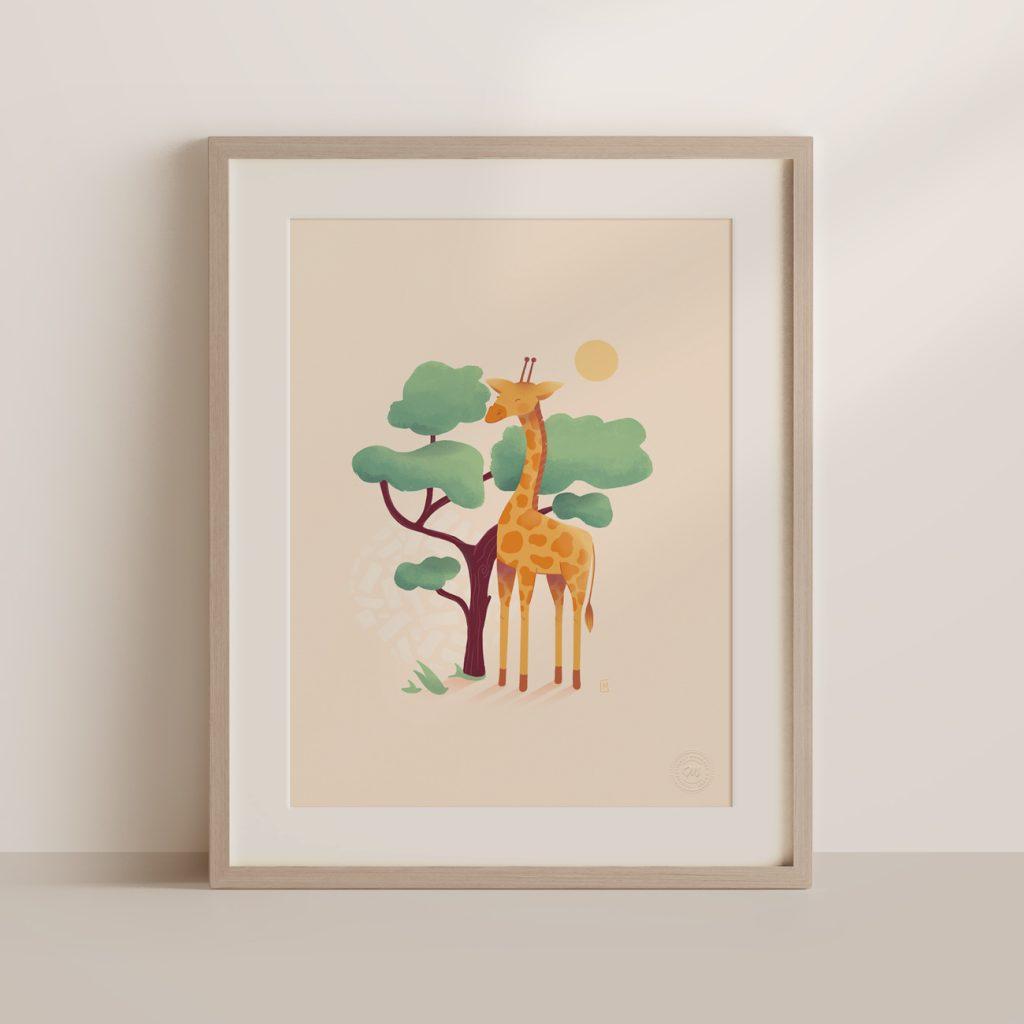 affiche encadrée girafe