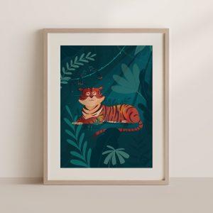 affiche tigre jungle tropicale