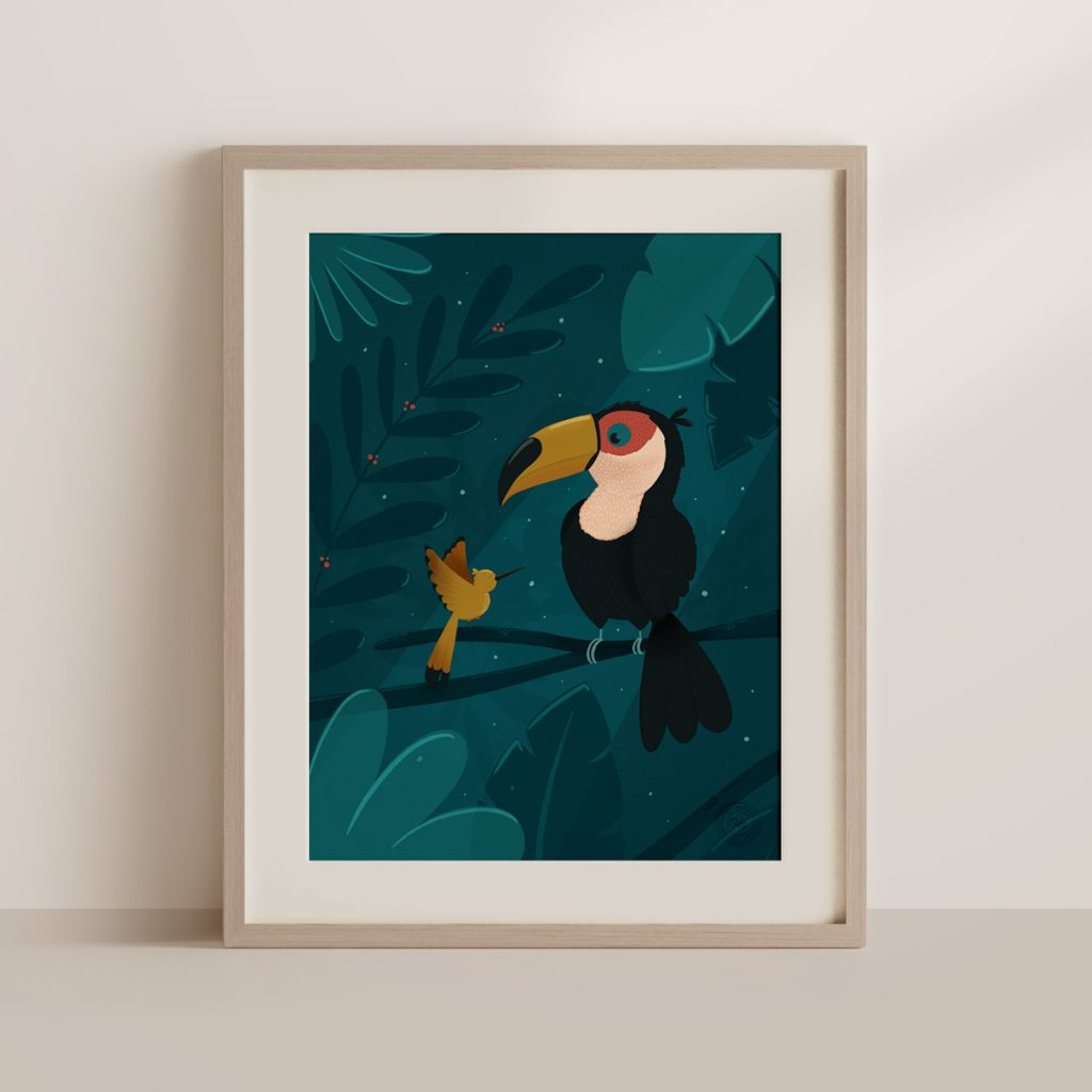 affiche toucan encadrée