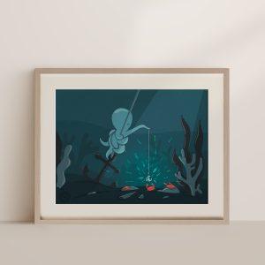 poulpe qui pêche